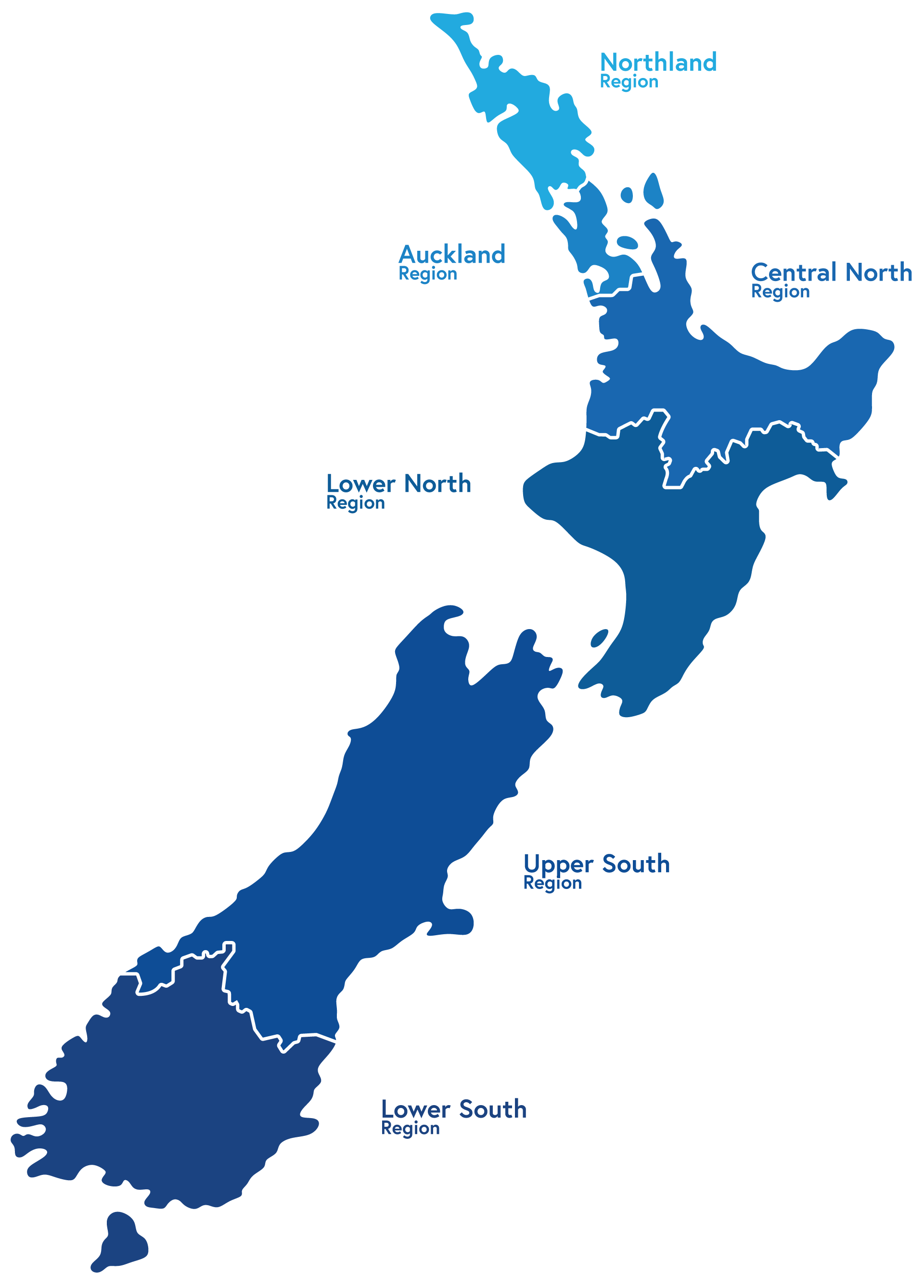 Map of New Zealand with regions of Inspect House coverage